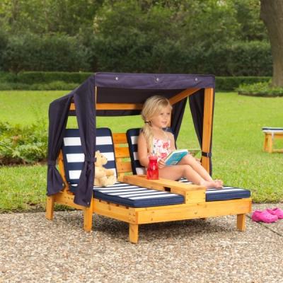 Tweepersoons-kinder-ligstoel-met-zonneluifel-chaise-longue-blauw-Kidkraft (00524)