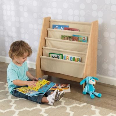 KidKraft - kinderboekenrek met canvas opbergvakken - naturel (14221)