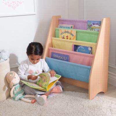 kinderboekenrek met canvas opbergvakken - pastel (14225)