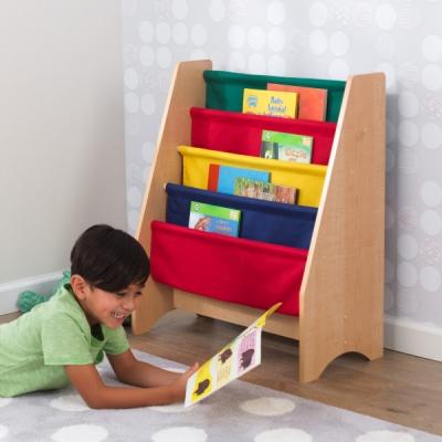kinderboekenrek met canvas opbergvakken - primaire kleuren (14226)