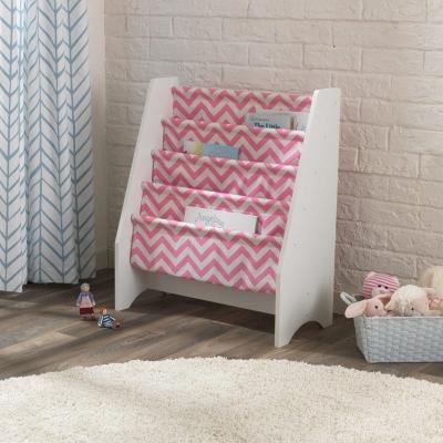 kinderboekenrek met canvas opbergvakken - roze/wit  (14233)