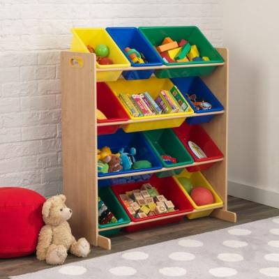 speelgoed opbergrek - 12 delig - primaire kleuren (16774)