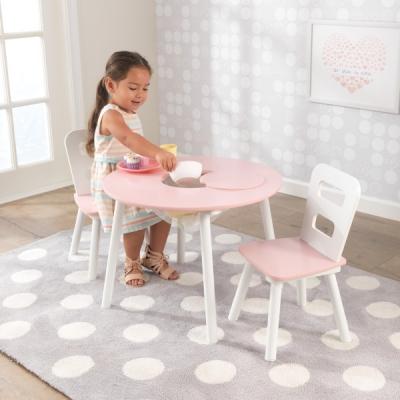 KidKraft - ronde kindertafel met twee stoelen - roze-wit (26165)