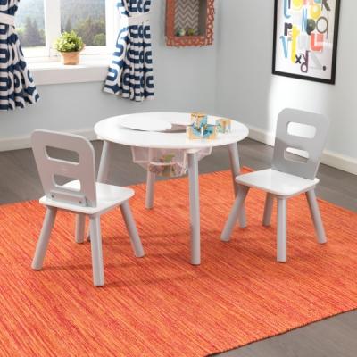 KidKraft - ronde kindertafel met twee stoelen - grijs/wit (26166)
