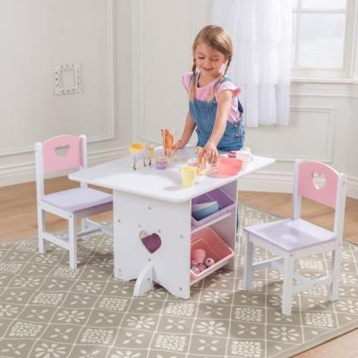 kindertafel met stoelen - 3 delig - Hartjes  (26913)
