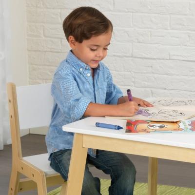 kindertafel met twee stoelen - modern - wit (27025)