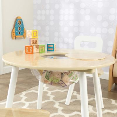 ronde kindertafel met twee stoelen - naturel-wit (27027)