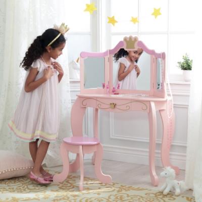 kaptafel met kruk - Prinses - roze (76123)